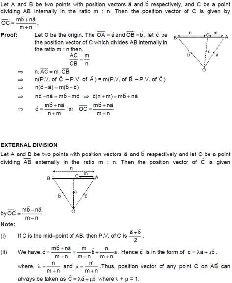 cbse class 12 maths notes vectors section formula