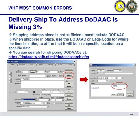 Dodaac Address Lookup Ppt Navy Whf And The Prevention Of Common Cdr Deficiencies Powerpoint Presentation