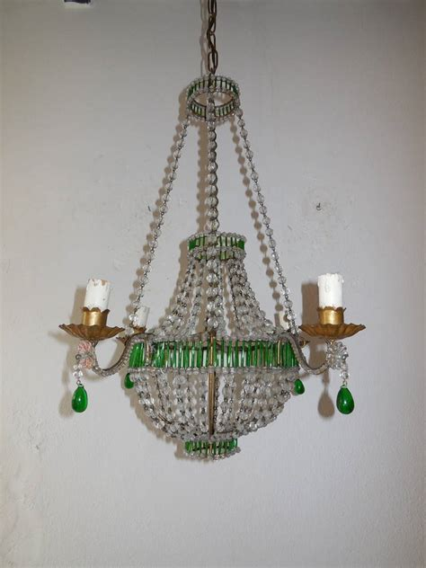 green chandelier crystals beaded glass green chandelier