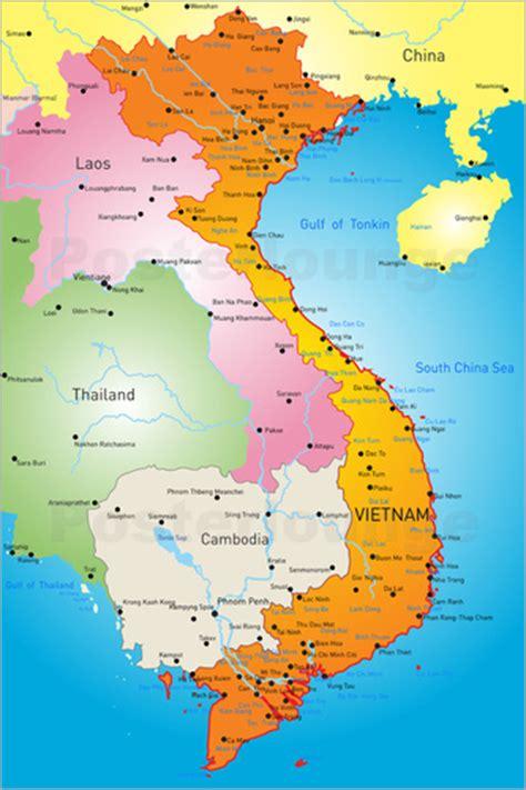 Scandinavian Dining Room vietnam map poster posterlounge