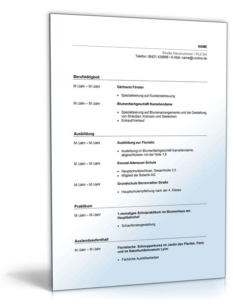 Lebenslauf Muster Zum Downloaden by Lebenslauf Floristin Muster Zum