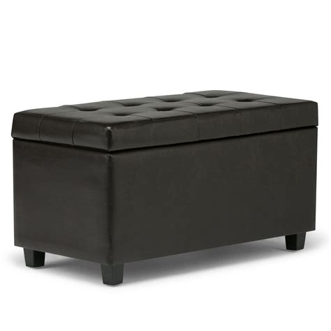 Bench Storage Ottoman Simpli Home Cosmopolitan Faux Leather Rectangular Storage Ottoman Bench Brown