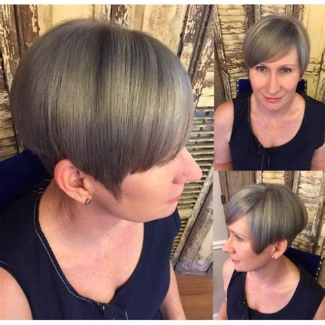 picture of precision grey hair haircut 14 best gray coverage and blending images on pinterest