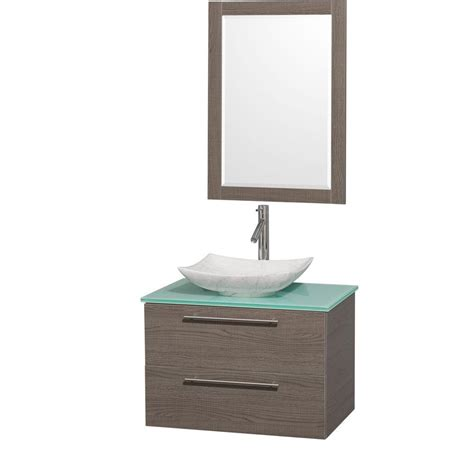 Green Vanity Top by Wyndham Collection Amare 30 In Vanity In Gray Oak With