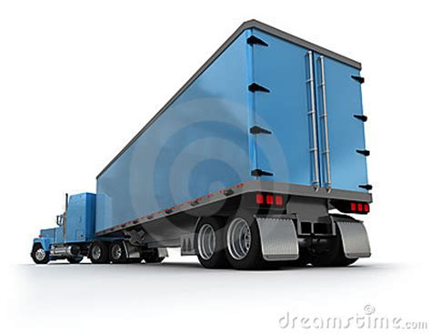 rear view of a big blue trailer truck stock image image