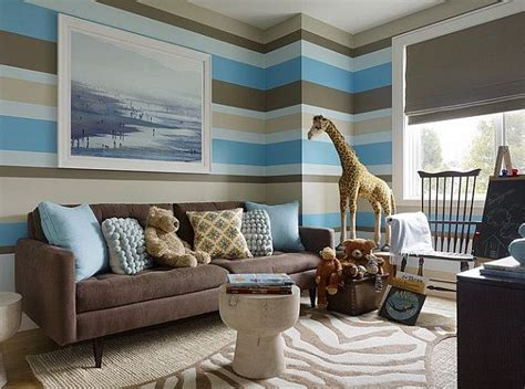 blue and brown walls striped walls living room brown blue and white decoist