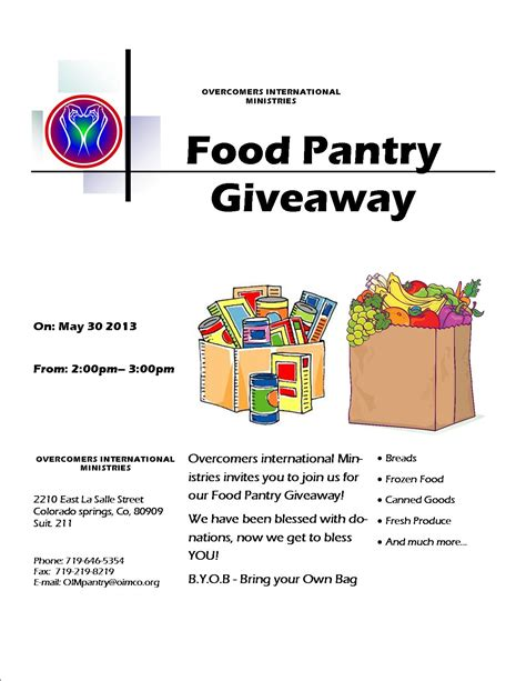 Cooking Giveaways - 10 best images of food pantry flyer sle food bank flyer templates girl scout