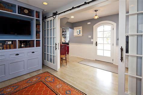 sliding french doors interior Entry Farmhouse with back porch barn door   beeyoutifullife.com