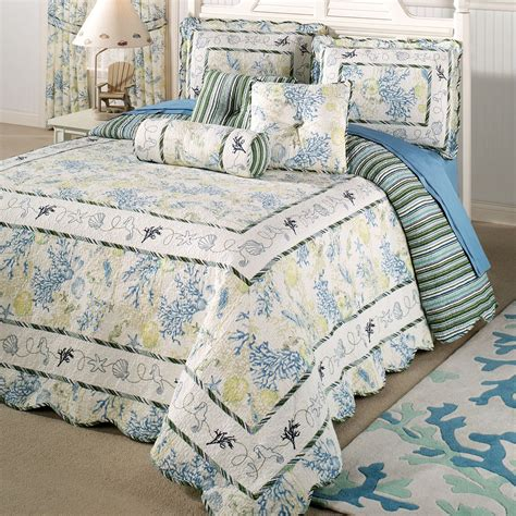 Quilted Bedspreads Treasures Coastal Oversized Quilted Bedspread