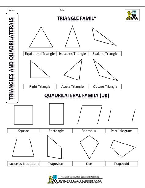 quadrilateral flashcards printable all shapes and their names printable search results