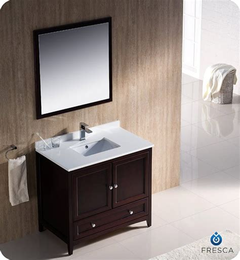 Bathroom Vanity Experts Fresca Oxford Single 36 Inch Transitional Bathroom Vanity Mahogany