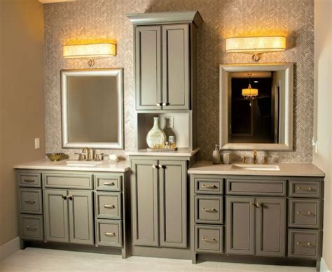sink vanity with tower vanity with center tower
