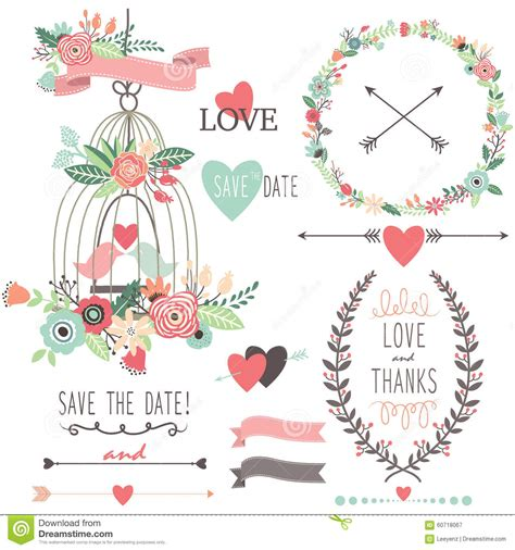 wedding banner illustration vintage wedding flowers and birdcage stock vector