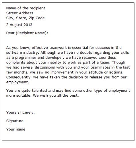 Reference Letter After Dismissal Employee Dismissal Letter Sle