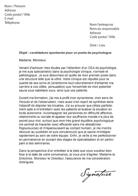 Stage Psychologie Lettre De Motivation lettre de motivation psychologue mod 232 le de lettre