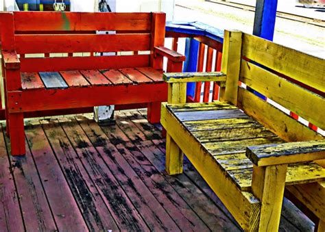 colorful bench colorful wooden benches free stock photo public domain