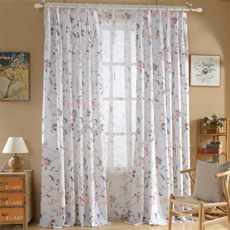 blue and white print curtains white floral print poly cotton blend pinch pleated country