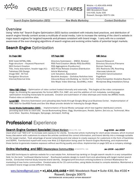 Seo Resume by Wes Faires Search Engine Optimization Seo Resume