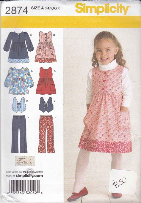 sewing pattern vest top simplicity sewing pattern 2874 girls size 3 8 dress top