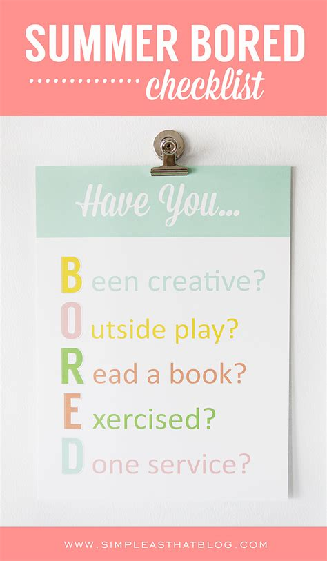 Bored How About Few by Win The Summer Boredom Battle With This Bored Checklist