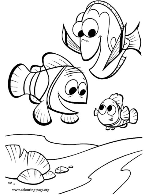 Finding Nemo - Marlin, Dory and Nemo coloring page