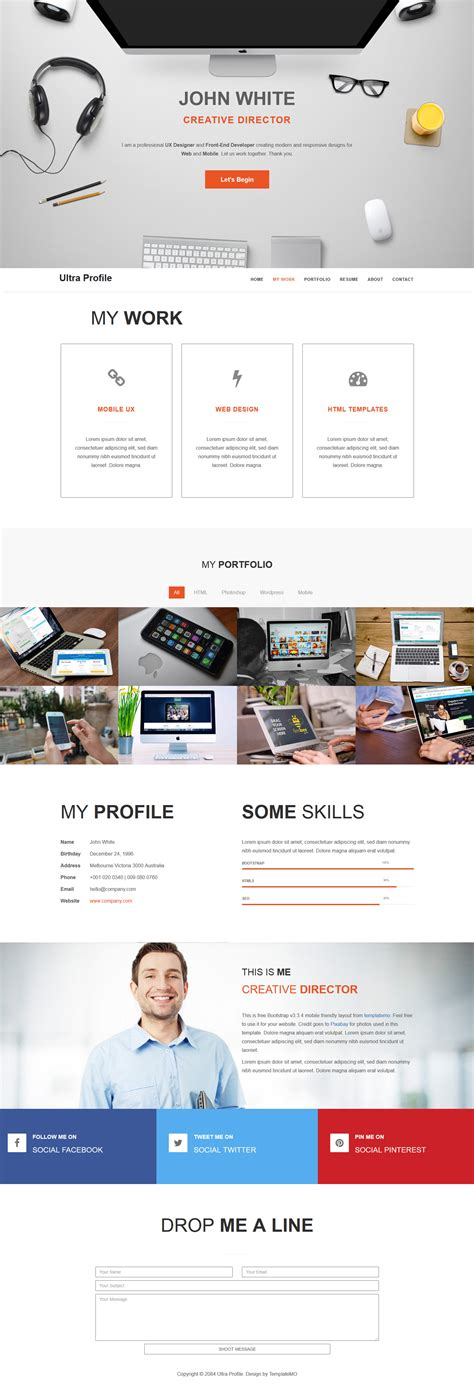 Bootstrap V3 Themes | template 464 ultra profile