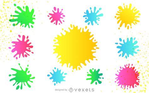 paint colorful colorful paint splatter set free vector