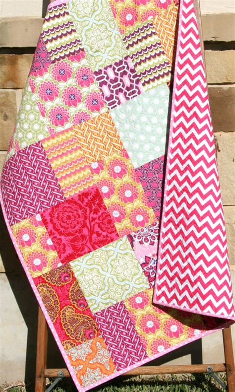 Bright Modern Baby Quilt Colorful Heirloom Girl Bedding Bright Colored Crib Bedding
