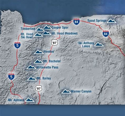 map of oregon rest stops oregon ski areas travel places