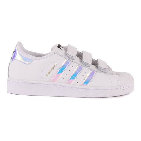 iridescent superstar velcro trainers pink adidas shoes children