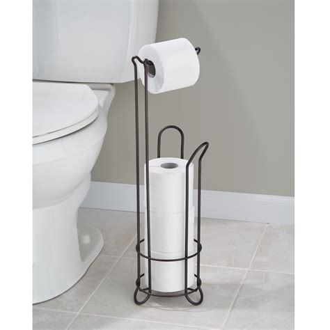 free standing toilet paper holder with storage interdesign classico free standing toilet paper holder for