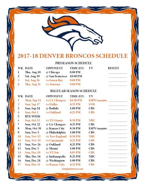 Printable Broncos Schedule | printable 2017 2018 denver broncos schedule