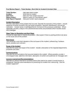 post mortem template best photos of help desk incident report template