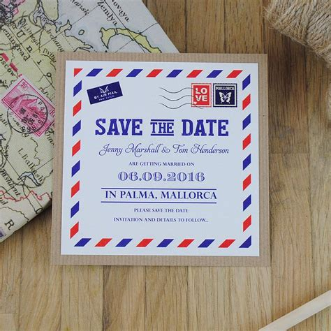 save the date wedding stationery uk vintage airmail wedding invitation travel themed