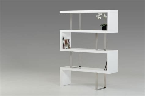 modrest maze modern white high gloss bookcase shelves