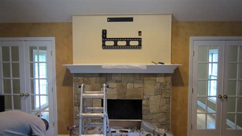 woodbury ct tv install above fireplace home theater