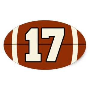 Number 17 football sticker zazzle