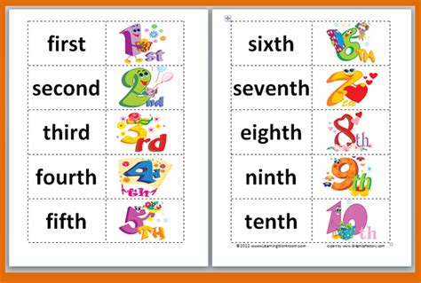 free printable ordinal number cards classroom freebies ordinal words and numbers matching game
