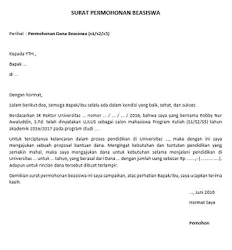 contoh surat permohonan beasiswa pendidikan s1 s2 s3
