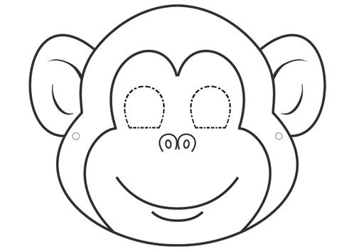 monkey template free coloring pages of monkey mask