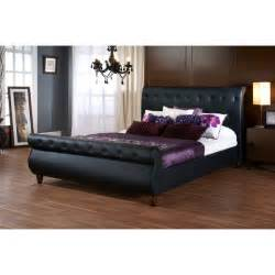 Modern Sleigh Bed Baxton Studio Ashenhurst Black Modern Sleigh Bed With Upholstered Headboard Size