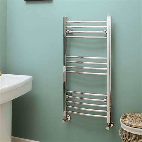 Eco Heat 1000 x 500 Curved Chrome Heated Towel Rail