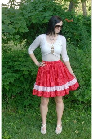 White Lace Sleeved Shirt And Polka Dot Skirt 30451we M vintagedress skirts quot vintage and white polka dot ruffle lace skirt quot by vintagedress