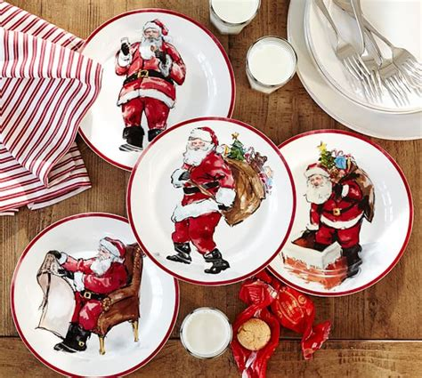 pottery barn china painted santa claus dinnerware pottery barn