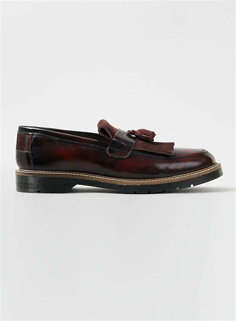 burgundy loafers for topman burgundy leather fringe loafers in for lyst