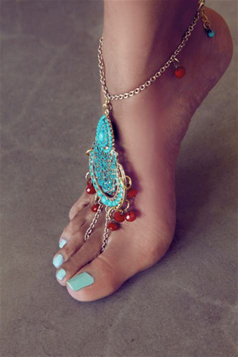 Pretty Anklets by Jewels Blue Orange Anklet Gold Pretty