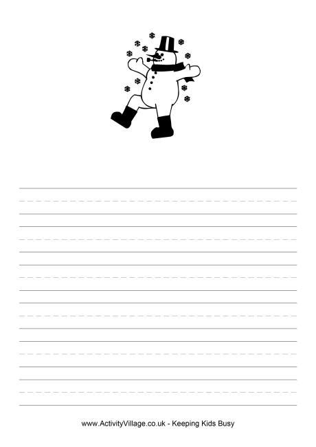 free printable snowman writing template snowman writing paper
