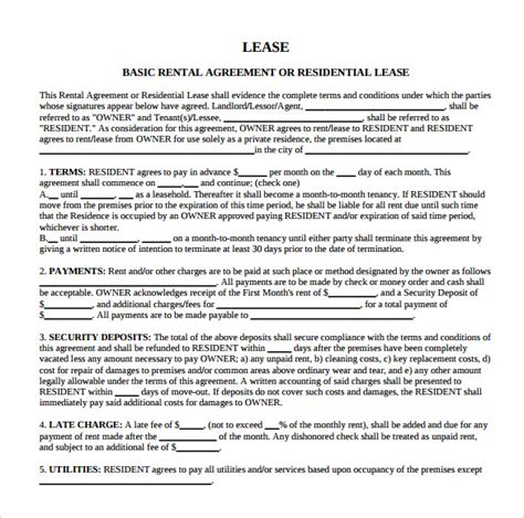 residential property lease agreement template sle residential rental agreement 9 documents in pdf