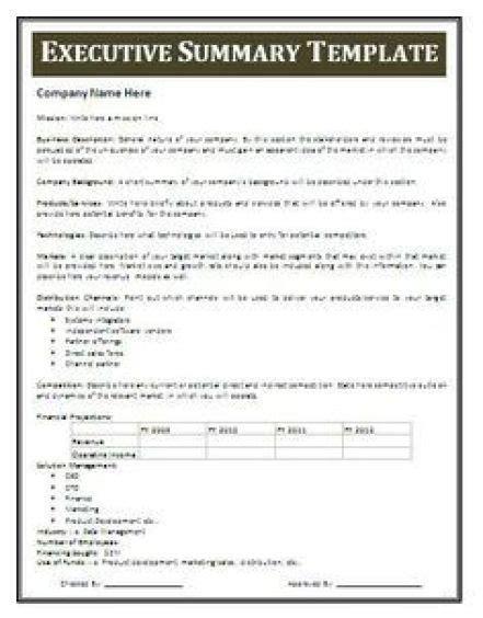 summary template 13 executive summary templates excel pdf formats