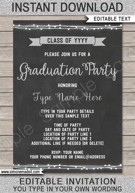 Graduation Party Invitation Printable High School Graduation Invite And Invite Template